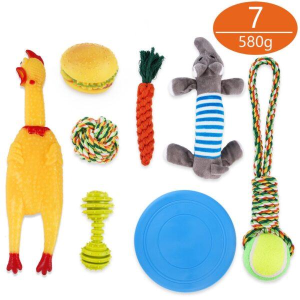 חיות מחמד כלב צעצוע אינטראקטיביים ערכת לעיסת חבל כדור צעצועי סט לגורים קטנים בינוני כלבי אימון נקי שיניים חבל כדור כלבים צעצוע